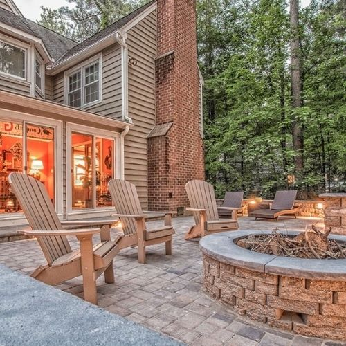 outdoor fire pit installation in a New England backyard