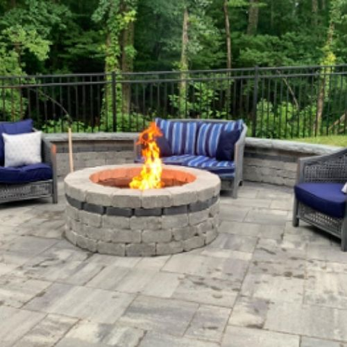 fire pit and newly installed patio pavers