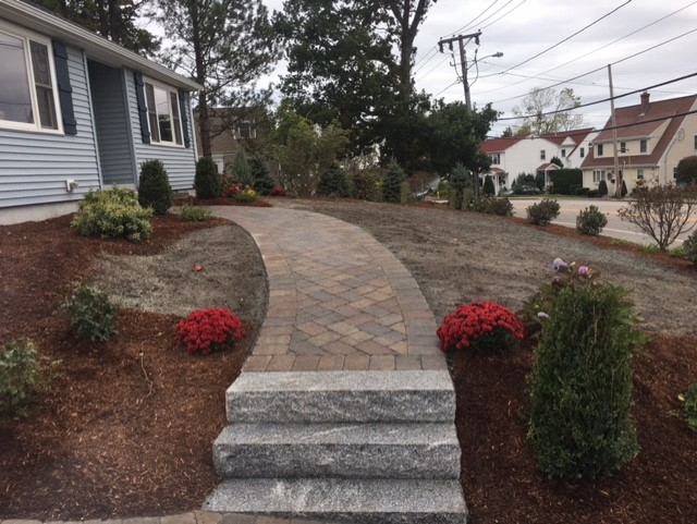 driveway and walkway paver installation by JM mento landscape design in Massachsuetts