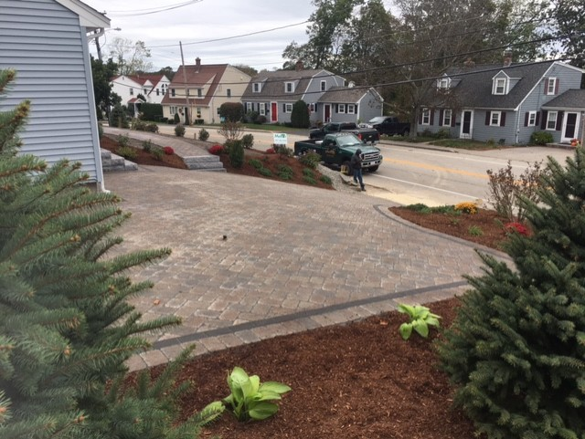 paver base material and patio driveway paver installation in residential Massachusetts neighborhood