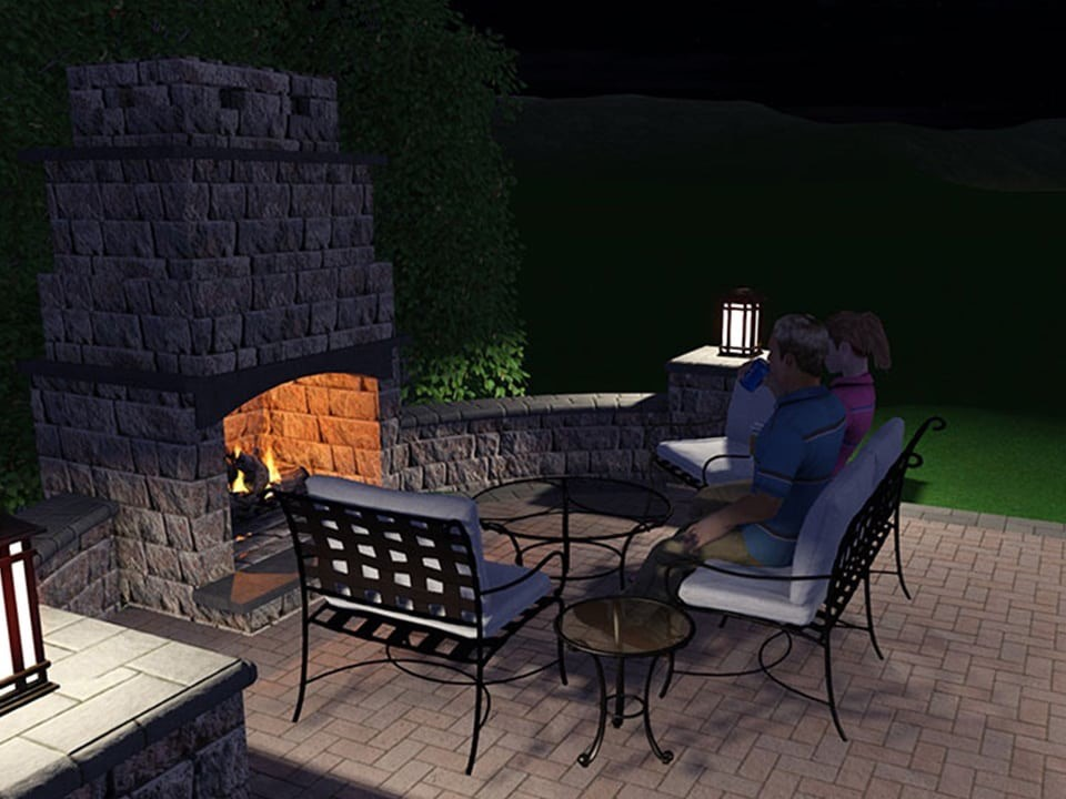 3D rendering of an outdoor fire pit. Phase three of the landscape design process.