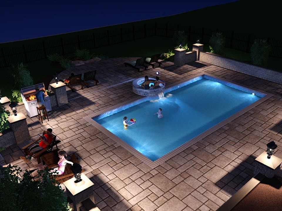 3D AutoCAD rendering of an in-ground pool. This is phase two of the landscape design process.