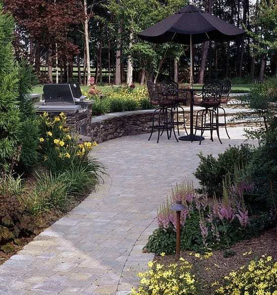 walkway paver installation by JM Mento Landscape Design in Holbrook, Massachusetts