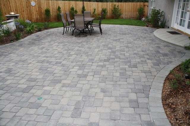patio paving stone installation by South Shore landscape contractor in Massachusetts